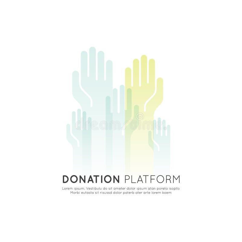 Grafiska beståndsdelar för ideella organisationer och donationmitt Fundraising Crowdfunding projektetikett royaltyfri illustrationer