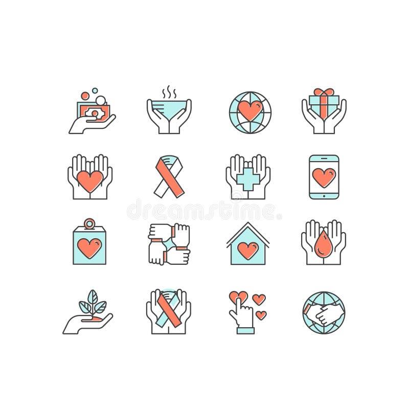 Grafiska beståndsdelar för ideella organisationer och donationmitt Fundraising symboler, Crowdfunding projektetikett, välgörenhet royaltyfri illustrationer