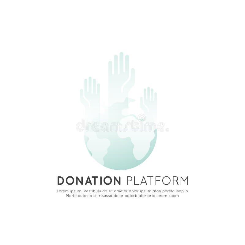 Grafiska beståndsdelar för ideella organisationer och donationmitt stock illustrationer