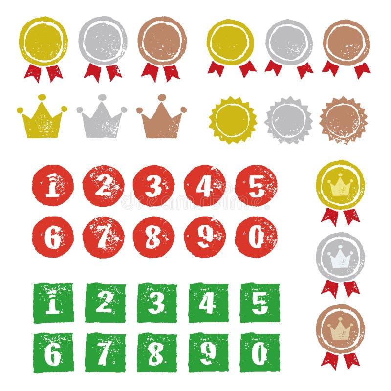 Grafiska beståndsdelar, medaljer, kronor och nummer royaltyfri illustrationer
