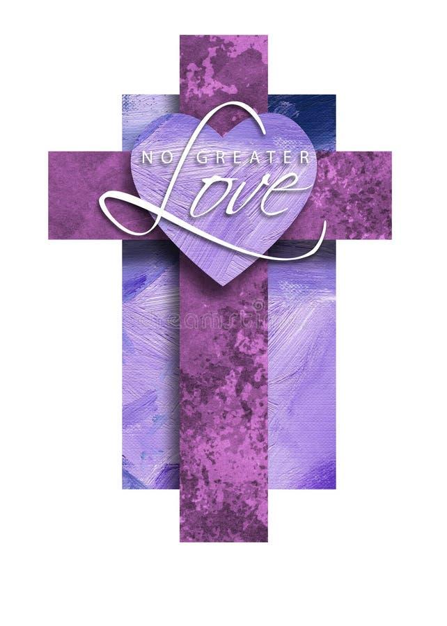 Grafiska Christian Cross med ingen större förälskelsehjärta royaltyfri illustrationer