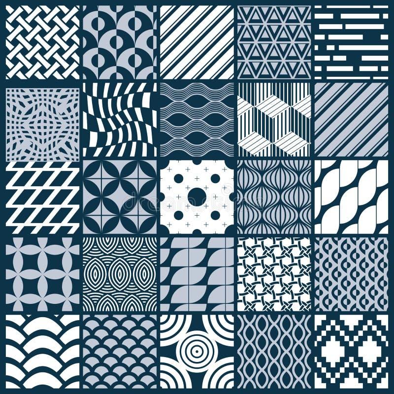 Grafiska dekorativa tegelplattor samling, beträffande uppsättning av den monokromma vektorn royaltyfri illustrationer