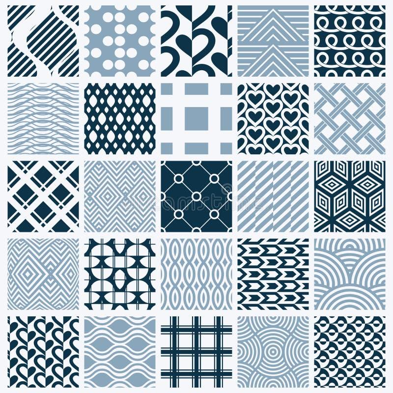 Grafiska dekorativa tegelplattor samling, beträffande uppsättning av den monokromma vektorn stock illustrationer