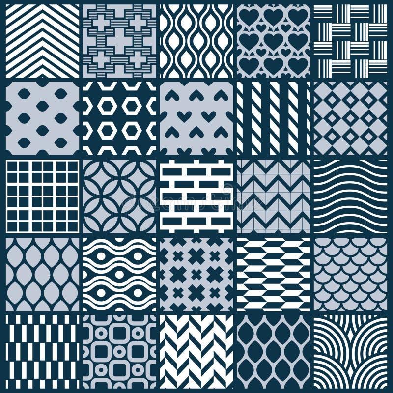Grafiska dekorativa tegelplattor samling, beträffande uppsättning av den monokromma vektorn vektor illustrationer