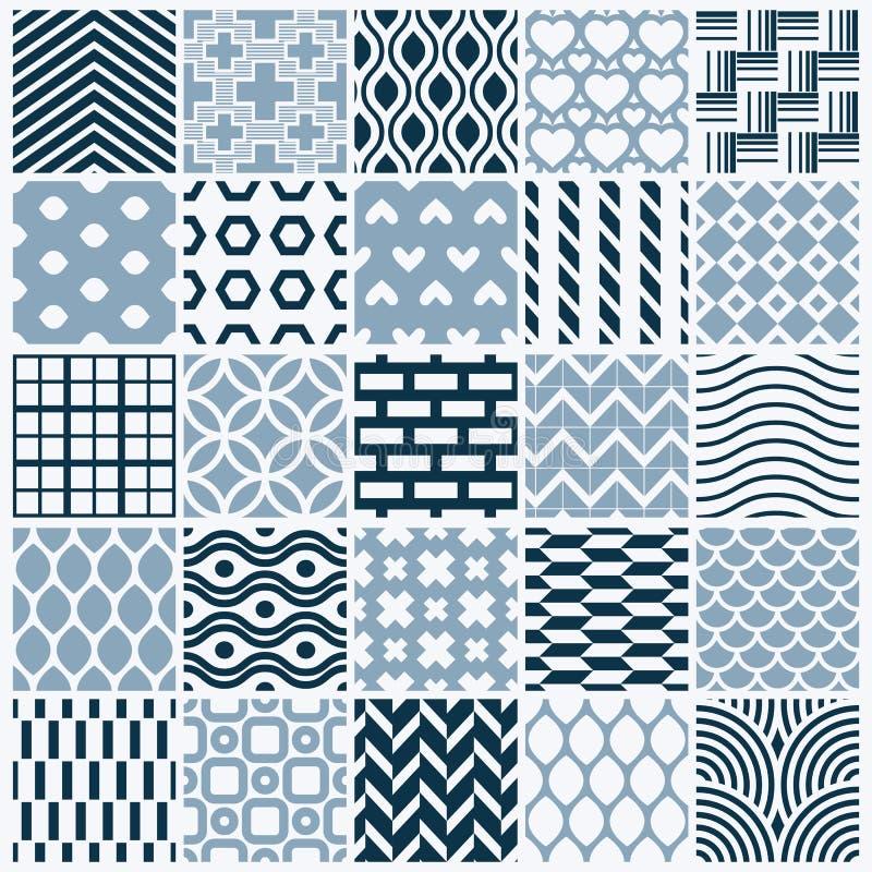 Grafiska dekorativa tegelplattor samling, uppsättning av monokromt beträffande vektor illustrationer