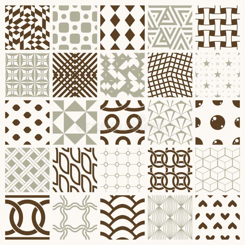 Grafiska dekorativa tegelplattor samling, upps?ttning av vektor upprepade modeller stock illustrationer