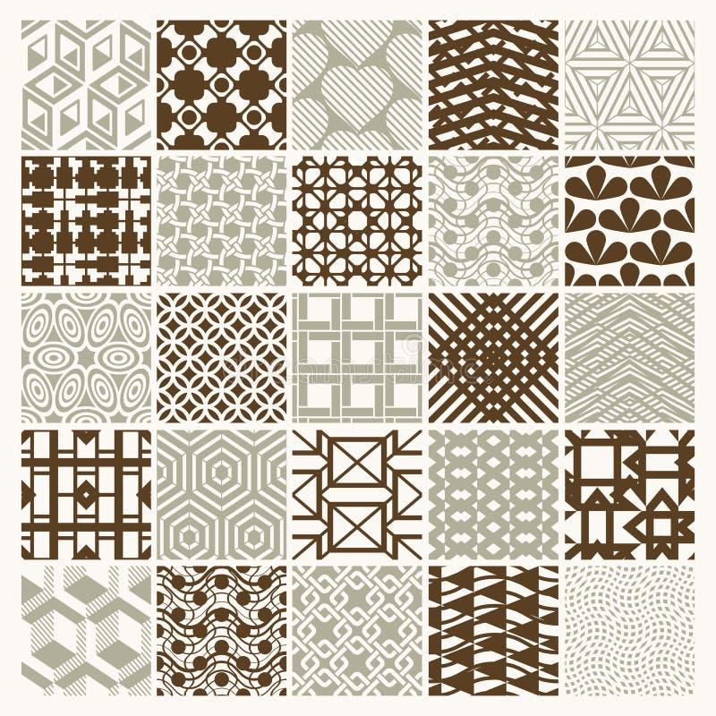 Grafiska dekorativa tegelplattor samlingen, uppsättning av vektorn upprepade patt vektor illustrationer