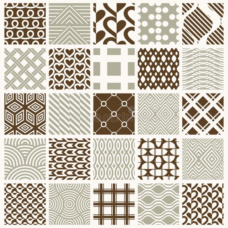 Grafiska dekorativa tegelplattor samlingen, uppsättning av vektorn upprepade patt royaltyfri illustrationer