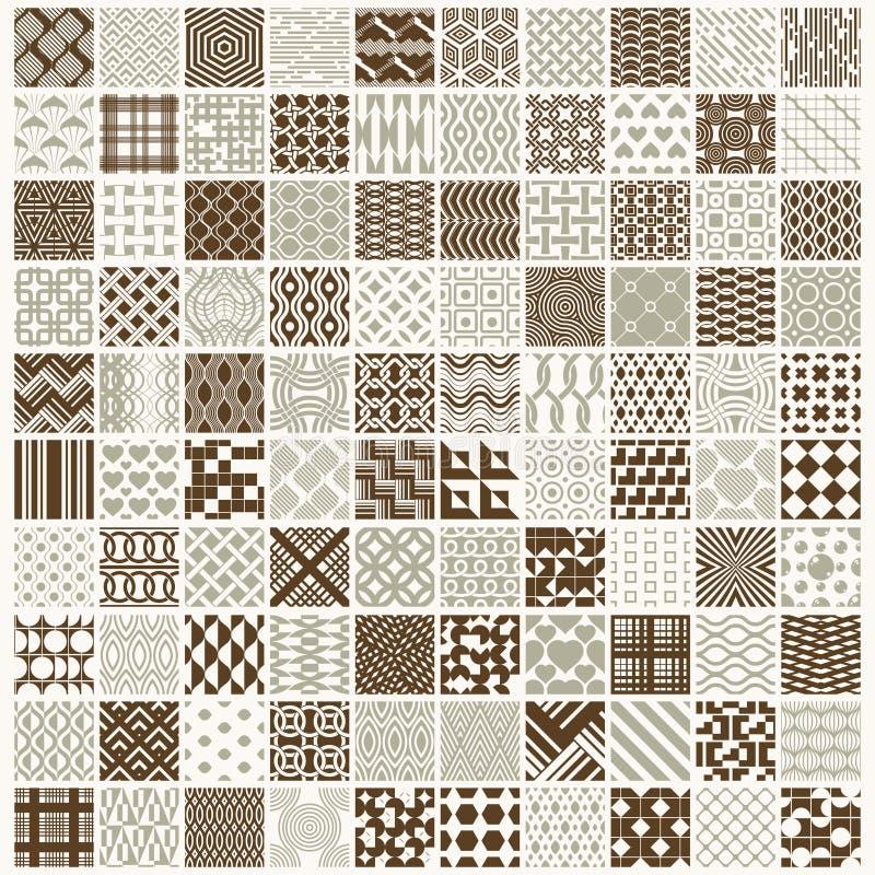 Grafiska dekorativa tegelplattor samlingen, uppsättning av vektorn upprepade patt stock illustrationer