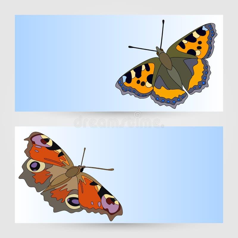 Grafiska designer för vektormallar med fjärilen. stock illustrationer