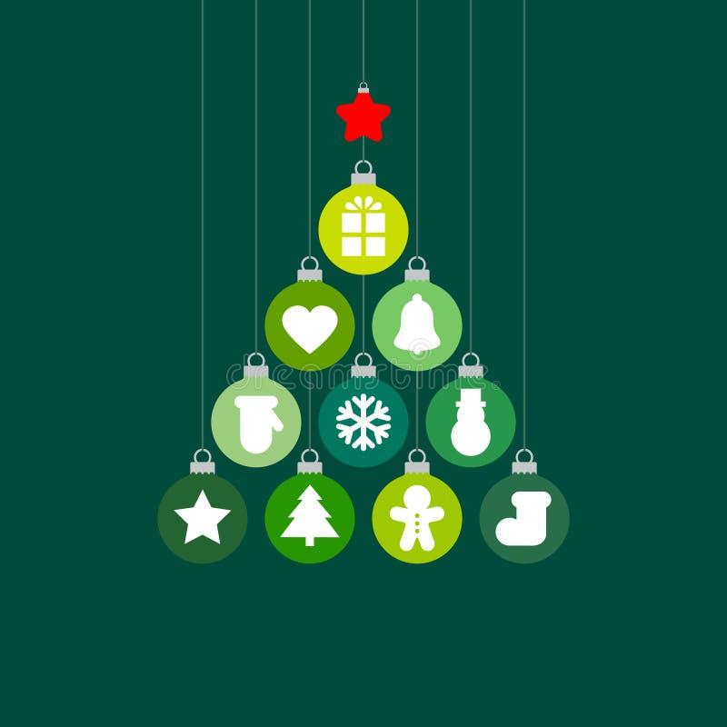 Grafiska julgranstruntsaker med grön röd silver för symboler stock illustrationer