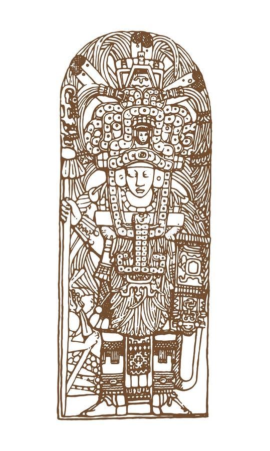 Grafiska mayaskåror för tappning, inca och aztec zodiakprydnader och symboler i gammal amerikansk indisk stil vektor royaltyfri illustrationer