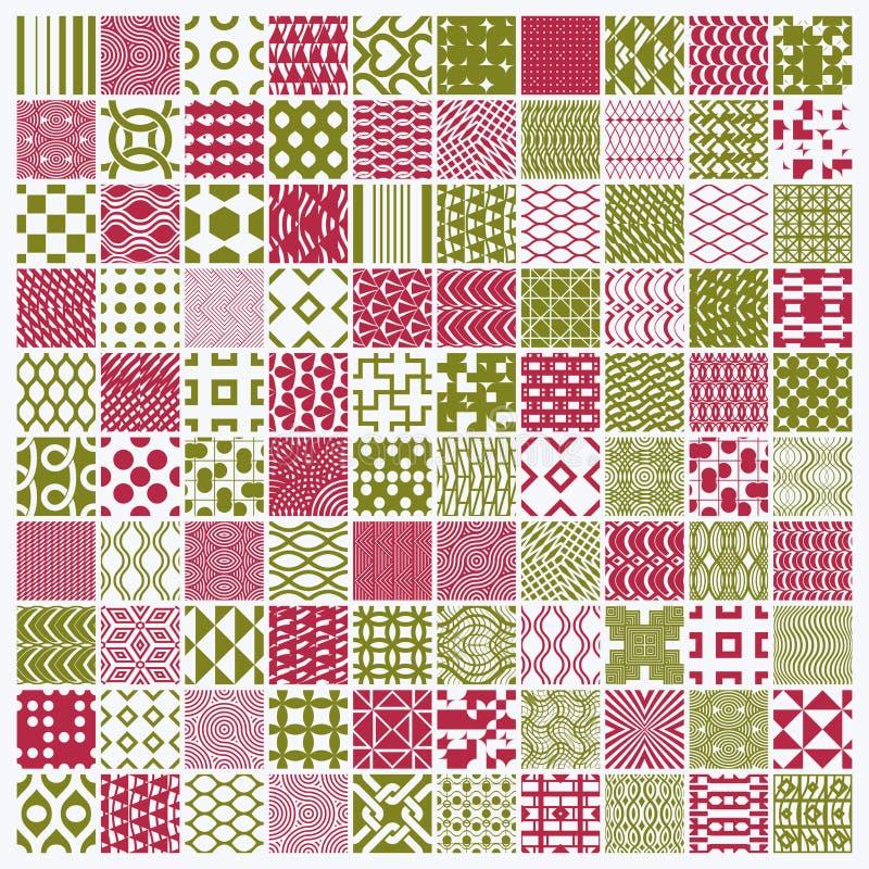Grafiska röda och gröna dekorativa tegelplattor samling, uppsättning av vektor illustrationer