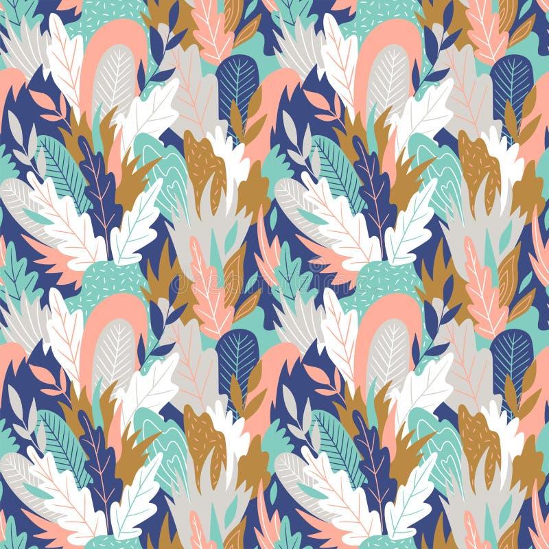 Grafiska sömlösa modeller för lövverk Blom- textur för vektor med hand drog abstrakt begreppblommor och sidor stock illustrationer