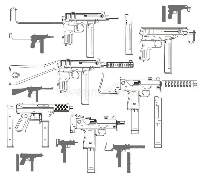 Grafiska svartvita moderna kulsprutepistoler vektor illustrationer