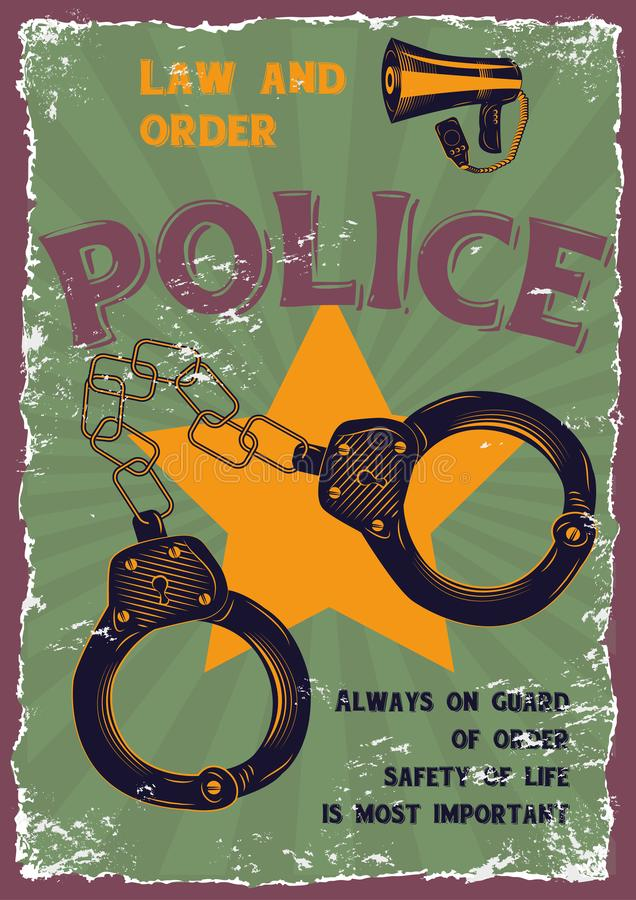 Grafiska teckningar på ämnet av polisen stock illustrationer