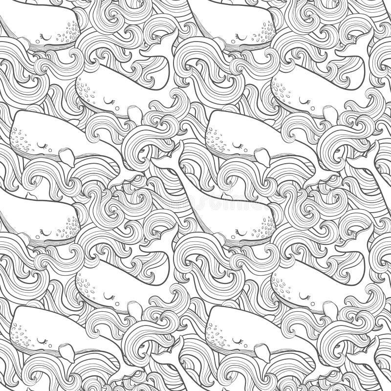 Grafiska val som flyger i himlen Havs- och havvarelser Sömlös modell för vektorfantasi Design för sida för färgläggningbok för vu vektor illustrationer