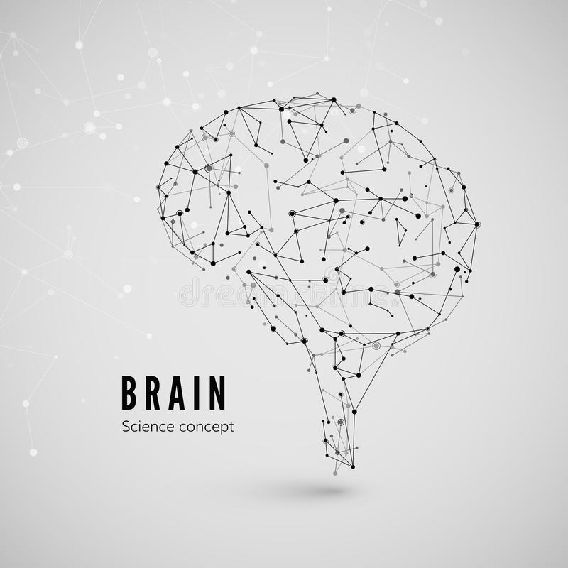 Grafiskt begrepp av hjärnan Teknologi- och vetenskapsbakgrund Hjärnan komponeras av punkter, linjer och trianglar vektor stock illustrationer