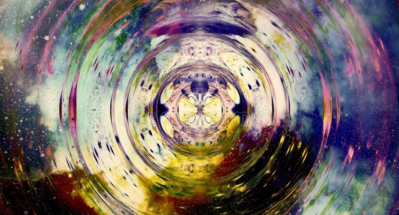 Grafiskt begrepp av musik i utrymme, kosmiska solida vågor, datordesign, musikbegrepp royaltyfri illustrationer
