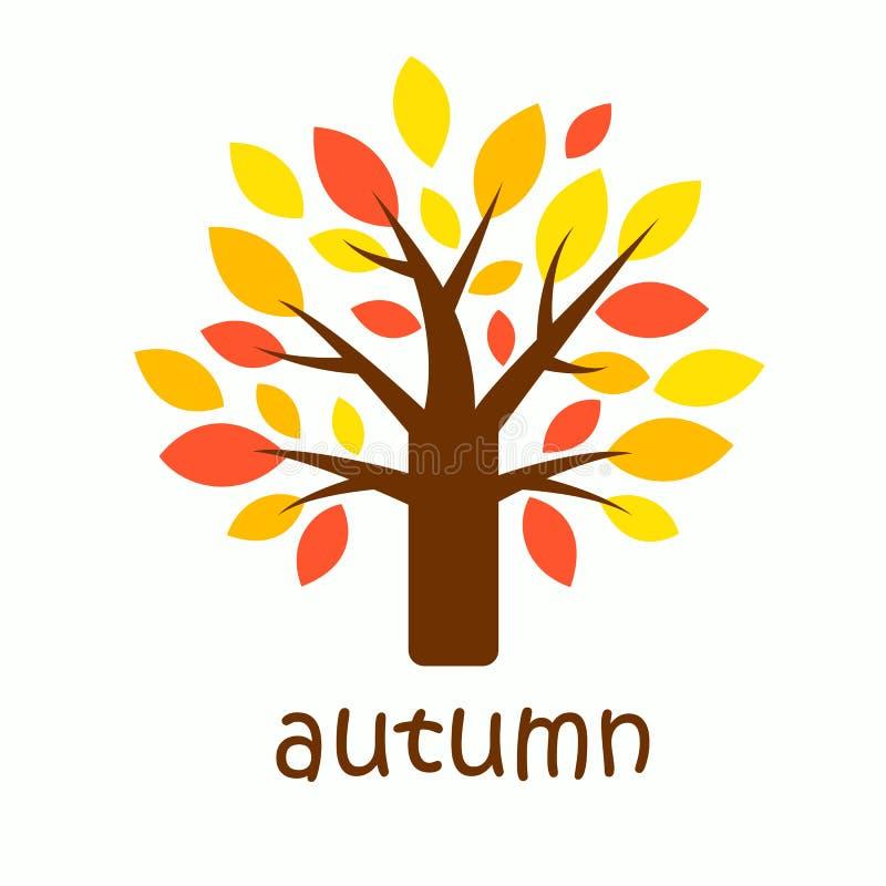 Grafiskt höstträd med gula, orange och röda sidor Symbol av höstsäsongen stock illustrationer