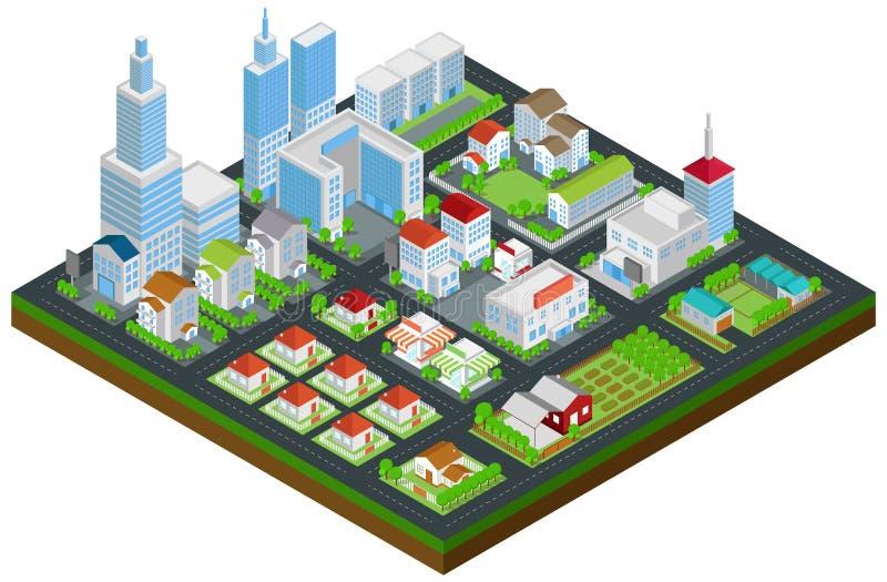 Grafiskt hus för stadsbyggnadsfastighet och cityscapearkitektur royaltyfri illustrationer