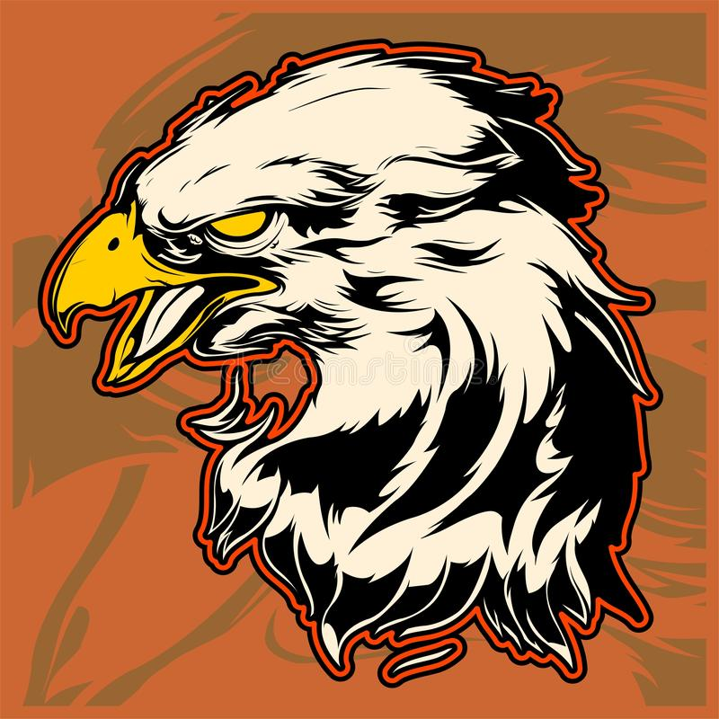 Grafiskt huvud av en skalliga Eagle Mascot Vector Illustration royaltyfri illustrationer