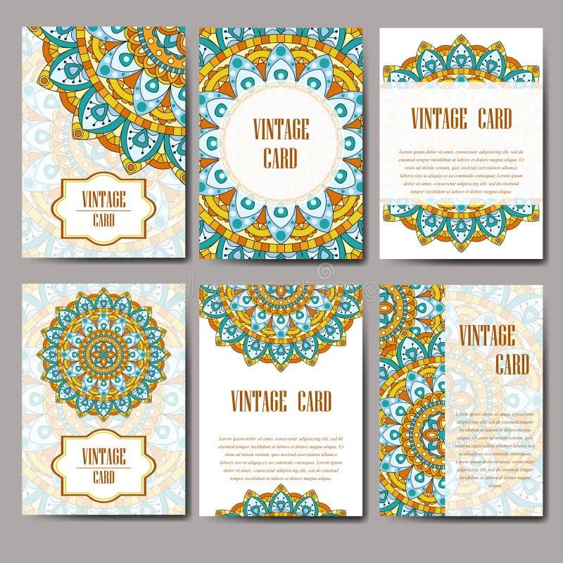 Grafiskt kort för inbjudan med mandalaen Dekorativ prydnad för kortdesign: gifta sig som är bithday, parti som hälsar Tappningman vektor illustrationer