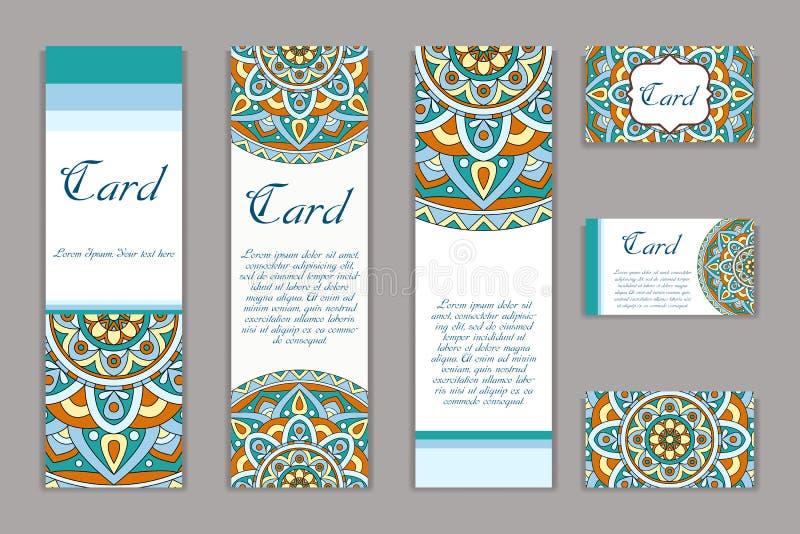 Grafiskt kort för inbjudan med mandalaen Dekorativ prydnad för kortdesign: gifta sig som är bithday, parti som hälsar Tappningman royaltyfri illustrationer