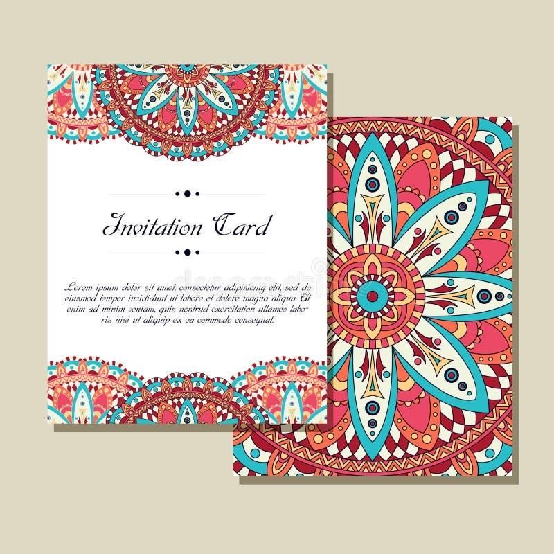 Grafiskt kort för inbjudan med mandalaen Dekorativ prydnad för kortdesign: gifta sig som är bithday, parti som hälsar Tappning stock illustrationer
