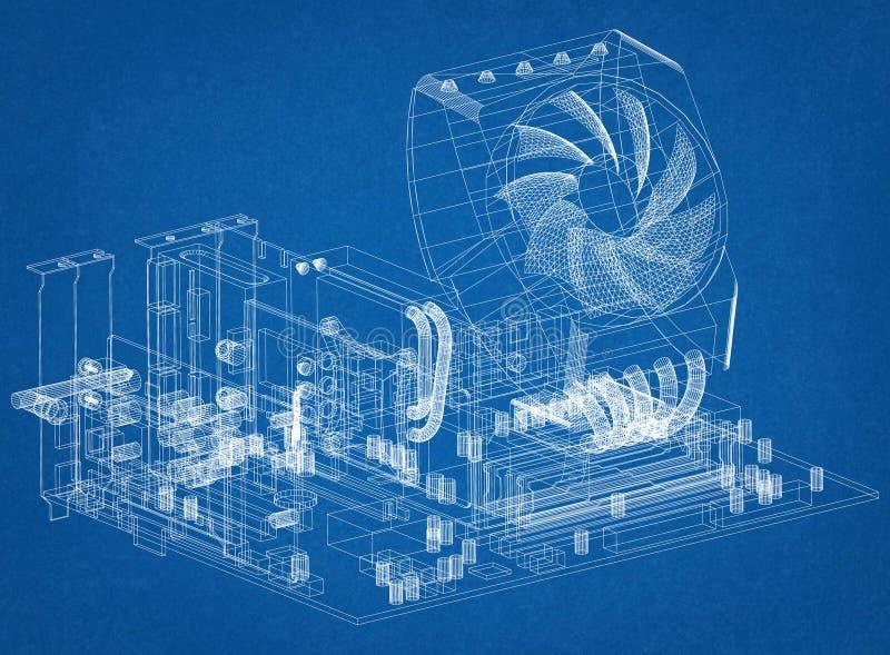 Grafiskt kort för moderkort och processordesignarkitekt Blueprint stock illustrationer
