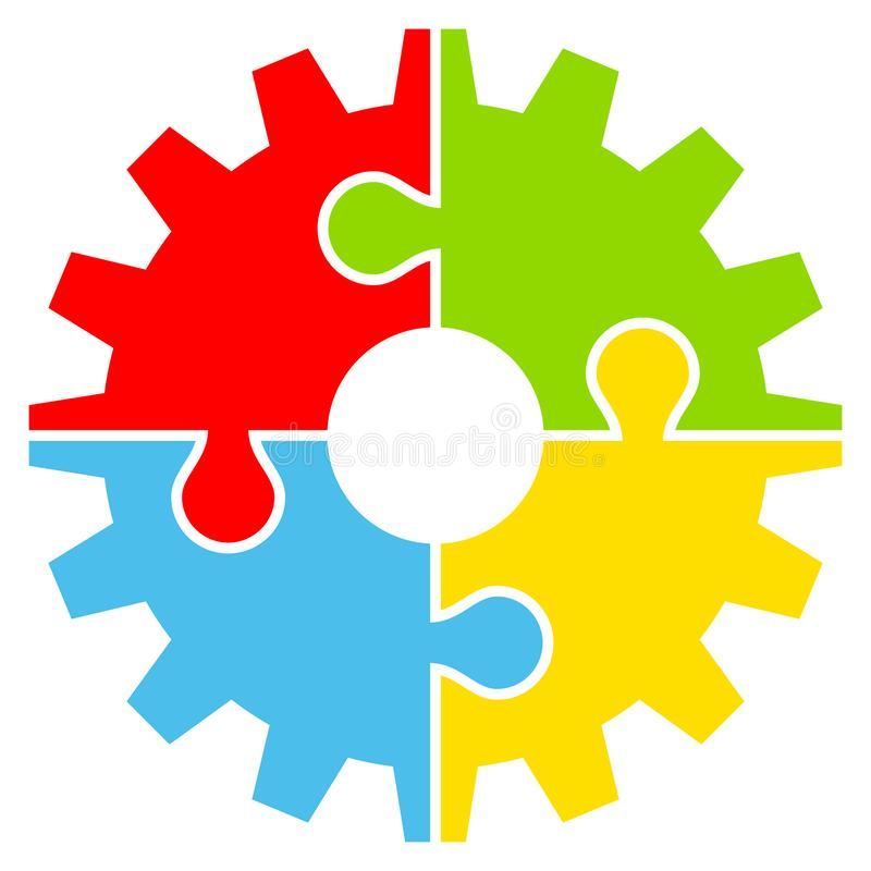 Grafiskt kugghjul med färg för fyra pusselstycken vektor illustrationer
