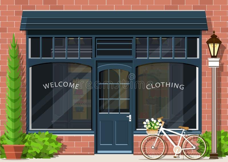 Grafiskt mode shoppar fasaden Yttre design för stilfullt gatalager Plan stil vektor illustrationer