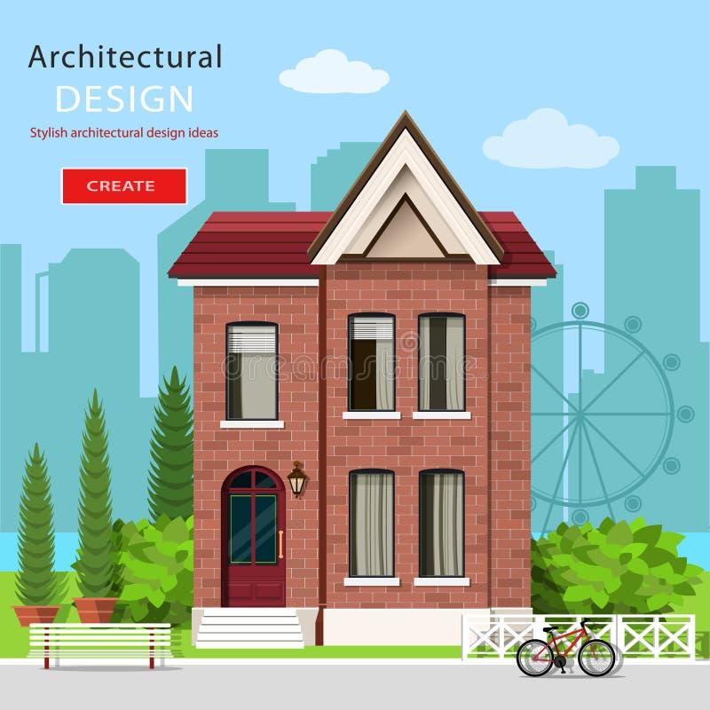 Grafiskt modernt lyxigt hus med grön gård- och stadsbakgrund Europeisk modern arkitektur också vektor för coreldrawillustration stock illustrationer