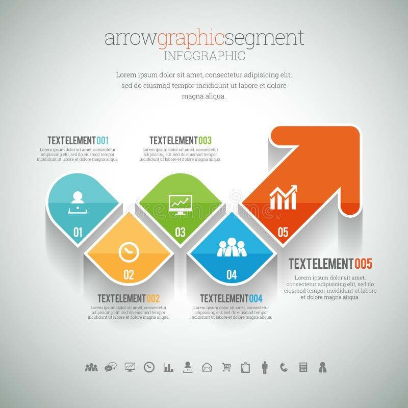 Grafiskt segment Infographic för pil royaltyfri illustrationer