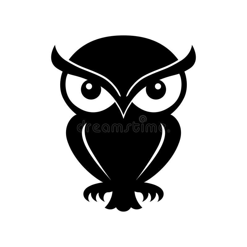 Grafiskt svart symbol f?r uggla logo royaltyfri illustrationer