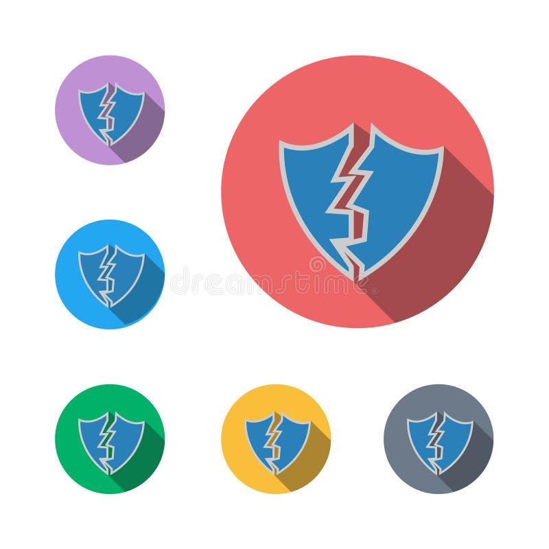 Grafiskt symbol för bruten för sköldteckensymbol lägenhet för symbol royaltyfri illustrationer