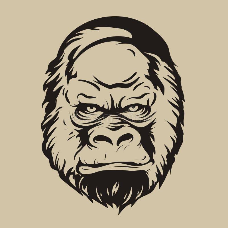 Grafiskt tryck, konturn av en gorillaframsida arkivfoto