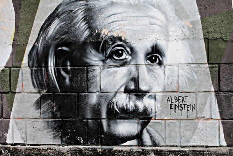 Grafit av Einstein royaltyfria bilder