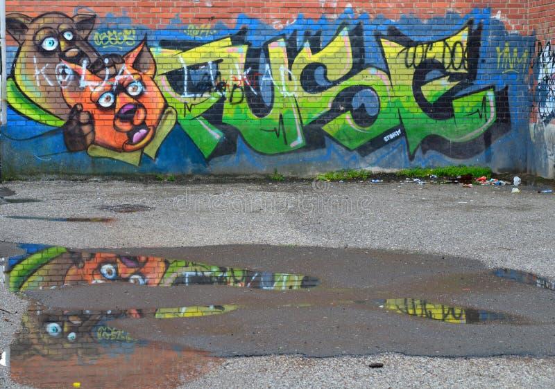 Grafit på väggen fotografering för bildbyråer