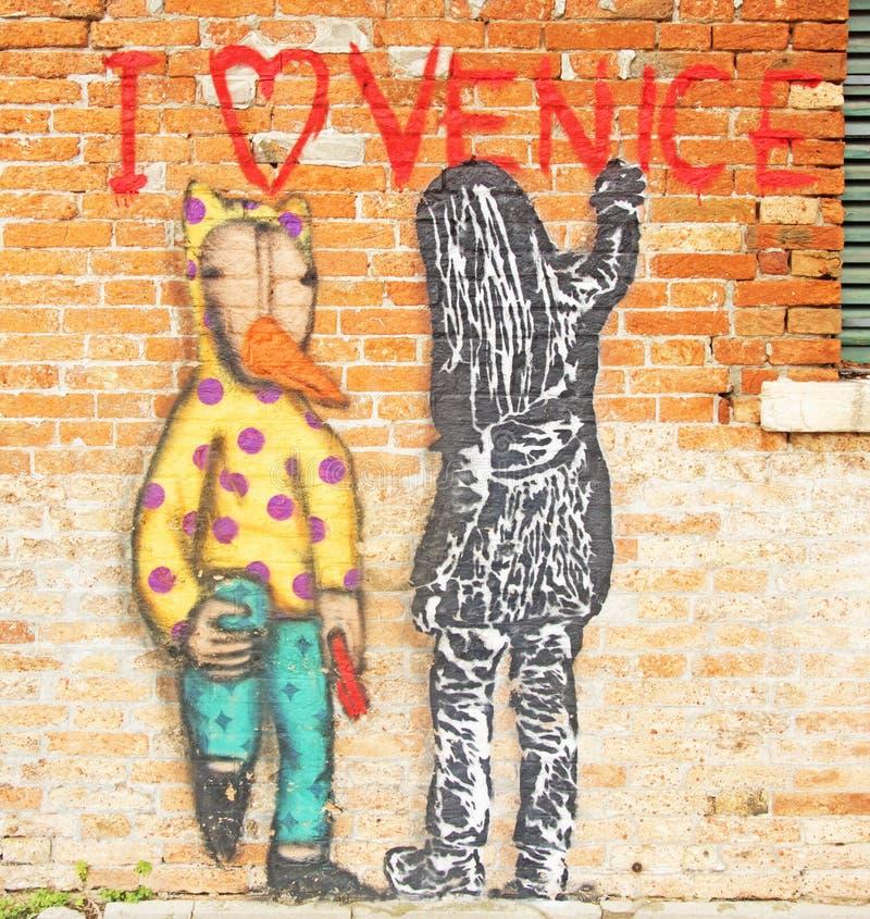 Grafiti moderno en Venecia, Italia imagen de archivo