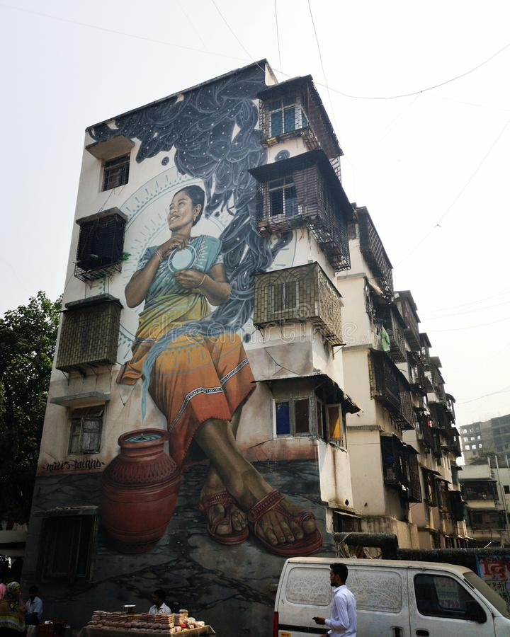 Grafiti sztuki ulicznej w Mumbai Mahim India zdjęcie royalty free