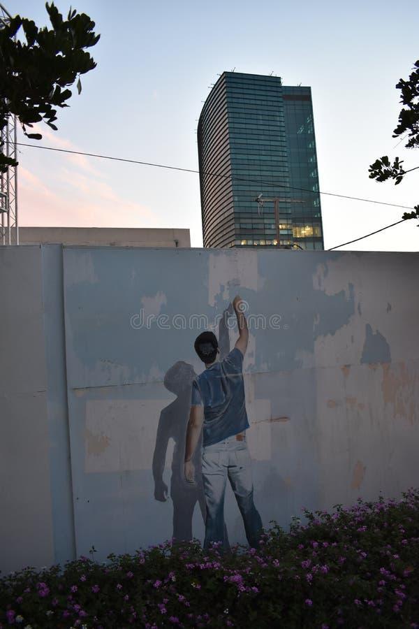 Grafito en la pared en Herzelia, Israel - adolescente judío imagen de archivo