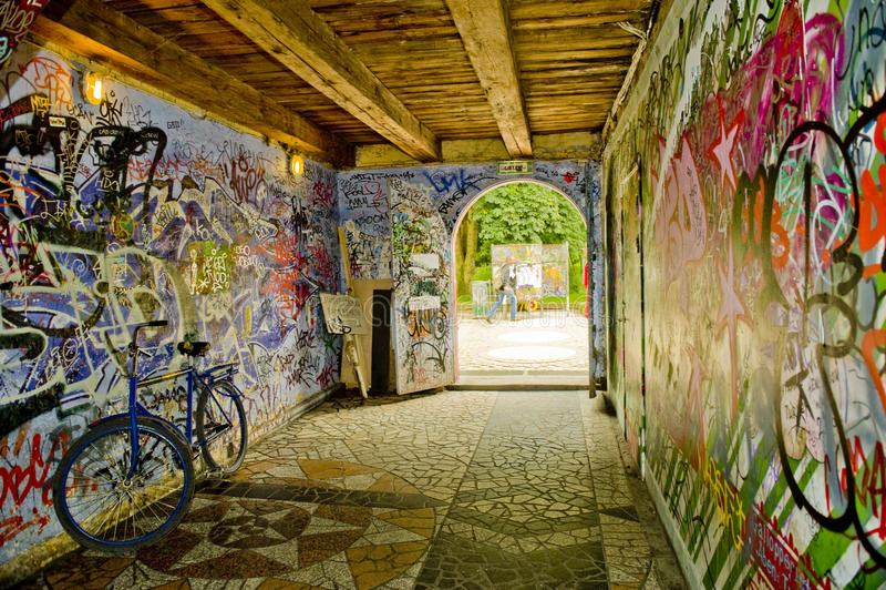 Grafitti av Christiania royaltyfri fotografi