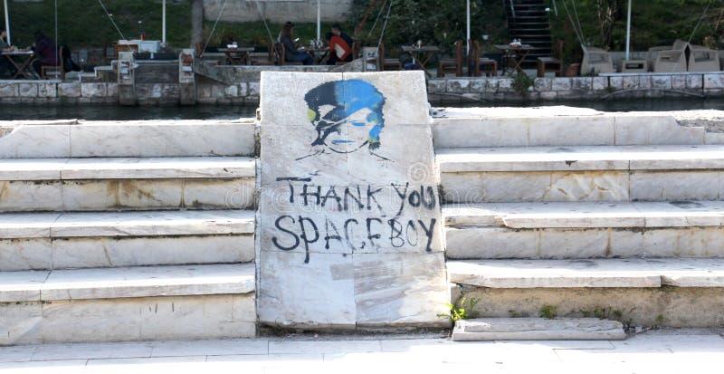 Grafitti av David Bowie som Ziggy Stardust i Struga, Makedonien Tacksamhettext och målarfärg på a royaltyfri bild
