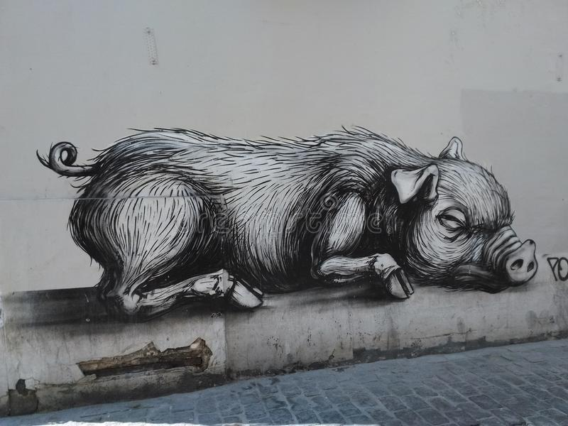 Grafitti av det stora svinet arkivbild