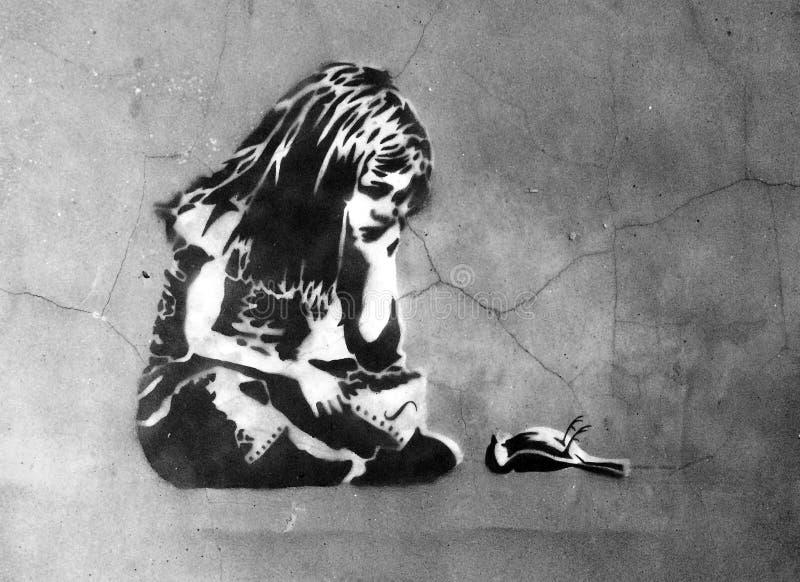 Grafitti för sprutmålningsfärgväggkonst, Kingston Upon Hull arkivfoton