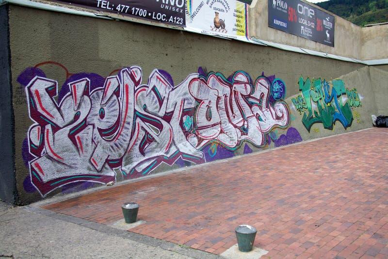 Grafitti i Bogota Colombia royaltyfria bilder