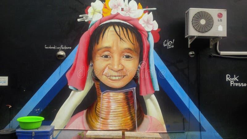 Grafitti i Chiang Mai arkivfoton