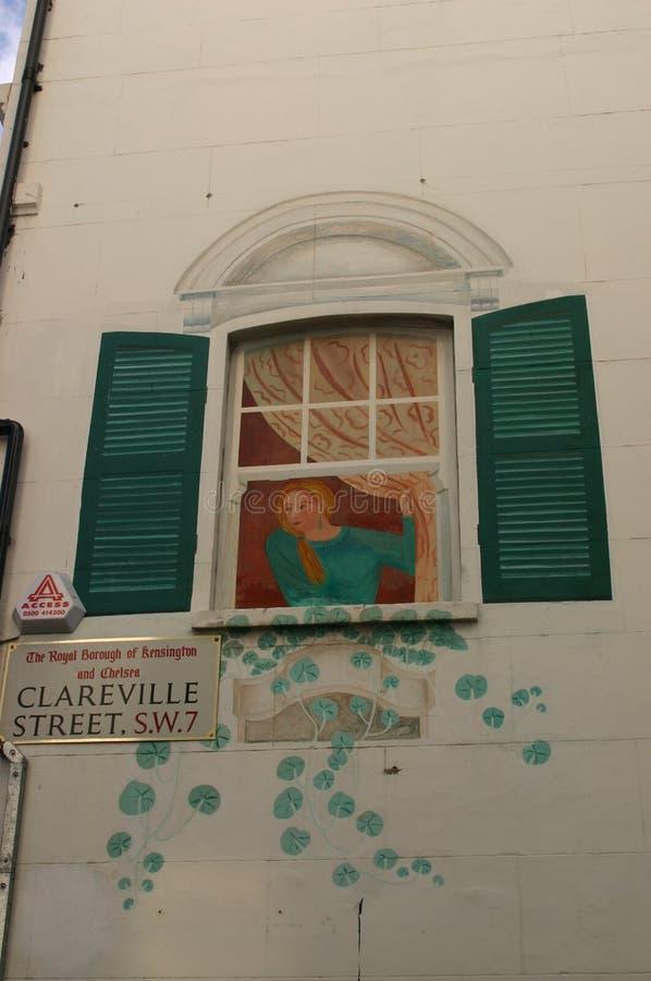 Grafitti i den Clareville gatan, London, UK fotografering för bildbyråer