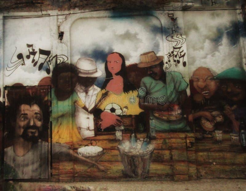 Grafitti i gatorna av Rio de Janeiro royaltyfri fotografi